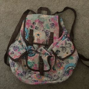 Pink, purple and blue print backpack